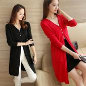 天天特价韩版针织衫女开衫春季新款女装中长款毛衣外套2017披肩潮