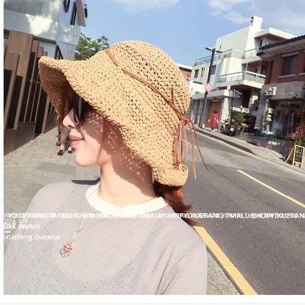 太阳帽海边清新草帽帽韩版度假文艺沙滩渔夫编织女夏小帽子