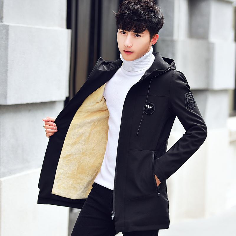 秋装男外套韩版潮流修身夹克男士中长款风衣秋冬季帅气男装上衣服