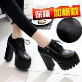 2017秋季新款欧美超高跟鞋女粗跟防水台加绒保暖短靴百搭女鞋子潮