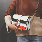 包包女2017新款韩版潮链条包简约拼接撞色斜挎包女小方包单肩女包