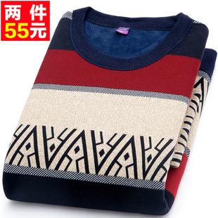 秋冬季中青年圆领加绒加厚针织衫