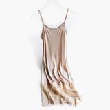 蕾丝拼接夏季百搭内衬裙桑蚕丝真丝针织系列打底可调节吊带连衣裙