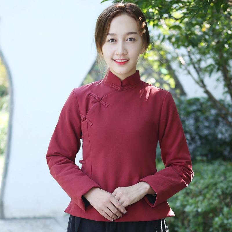 中国风女装冬装民族风棉衣唐装女棉袄中式复古棉麻旗袍上衣盘扣