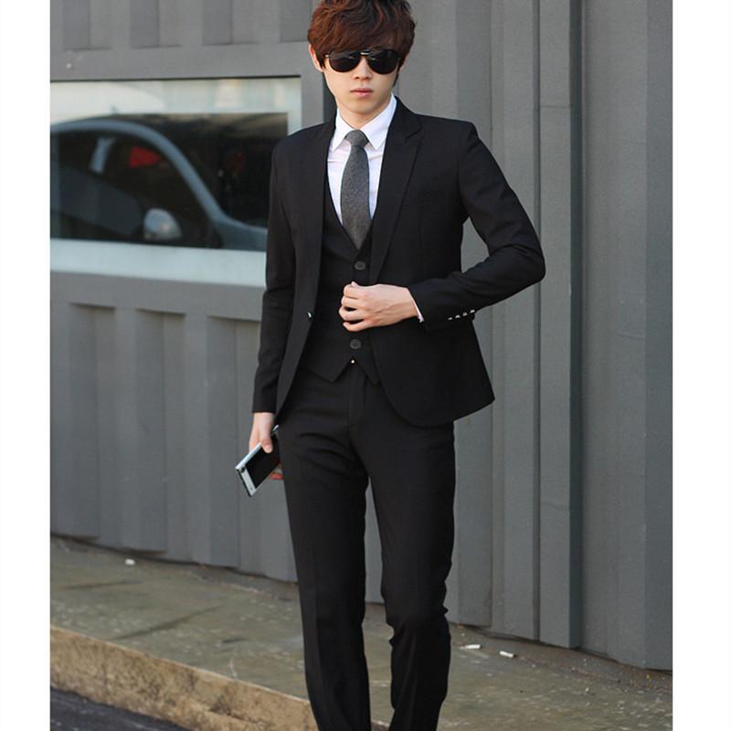 男士西服套装男青年韩版修身商务正装大学生毕业结婚工作西装礼服