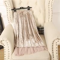 新款2017气质甜美网纱系带金丝绒半身裙中长款高腰仙女百褶裙子