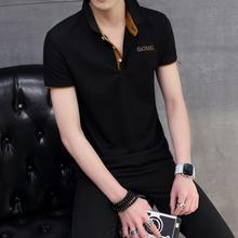 夏季男士带领子短袖t恤潮流男装修身体恤汗衫青年韩版翻领半袖棉T