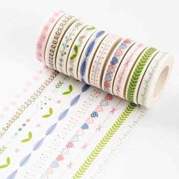 和纸手撕无痕手账胶带彩色手帐花边可撕DIY装饰贴纸细窄