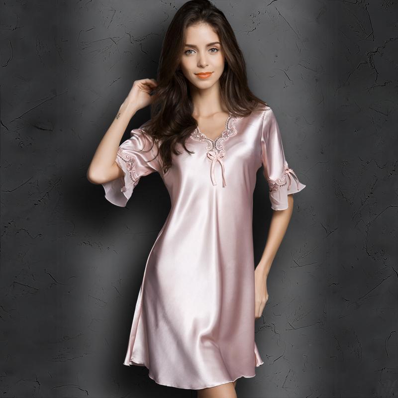 丝质家居服冰丝中袖性感真丝丝绸夏季睡衣宽松睡裙短袖