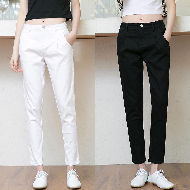 小腳白色哈倫褲女韓版顯瘦簡約牛仔寬松黑色