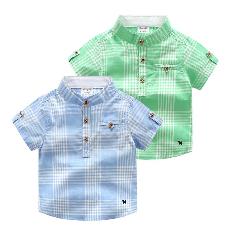 儿童衬衫格子短袖 衬衣纯棉男童夏季 上衣圆领小童宝宝