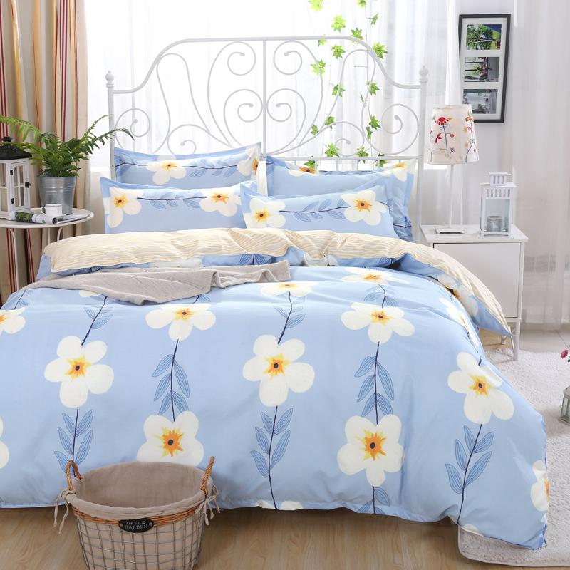 被套双人学生宿舍四件套床上用品卡通床单简约