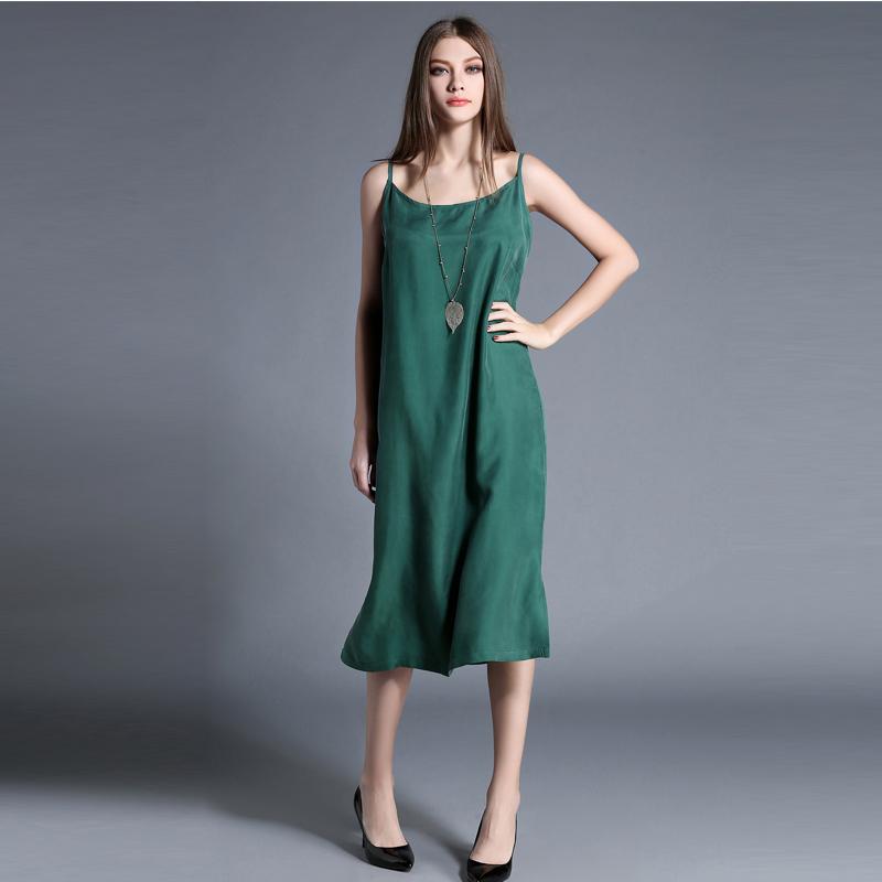 呼吸/铜氨丝连衣裙长款夏文艺女装吊带裙女打底长裙外穿宽松大码