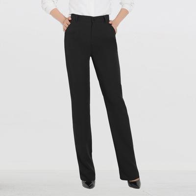 秋冬黑色高腰微弹力正装裤西裤女士直筒长裤子职业工装工作裤厚