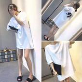 夏季女装中长款t恤裙宽松原宿大码白色体恤女bf短袖韩版学生上衣