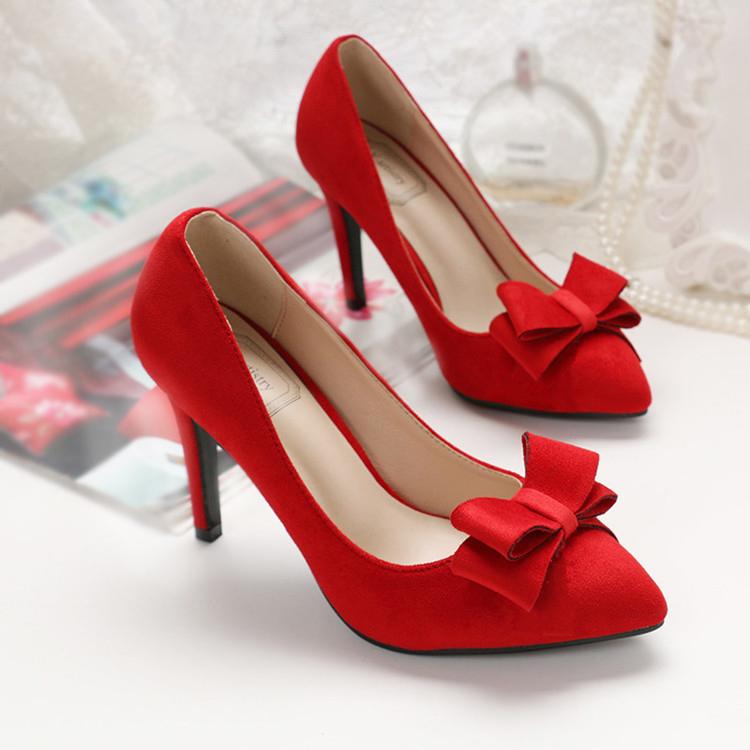 春秋新娘婚鞋女黑色单鞋大码女鞋40 41 43红色结婚尖头高跟鞋细跟