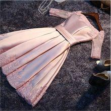 显瘦一字肩小礼服连衣裙主持人晚礼服 中袖 伴娘服短款 2016新款
