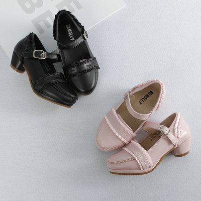 花边韩国版高跟鞋 2017春季新款女童单鞋皮鞋公主鞋时尚儿童鞋