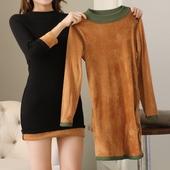 女连衣裙 打底套头针织衫 秋冬加绒毛衣女中长款 加厚保暖半高领修身图片