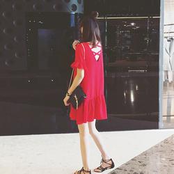 2017夏装新款海边度假巴厘岛沙滩裙娃娃裙红色鱼尾雪纺连衣裙女夏