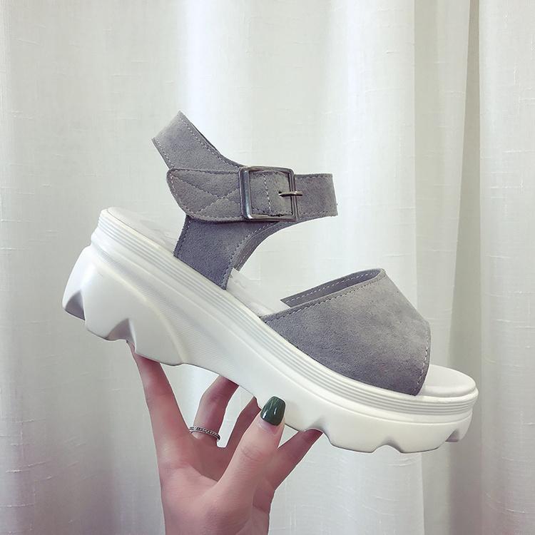 凉鞋坡跟夏季一字鱼嘴高女鞋防滑韩版松糕