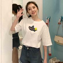 上衣服 新款 白色t恤女夏装 原宿风bf短袖 学生宽松百搭韩版 体恤半袖