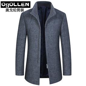 毛呢外套男修身2017秋季中年呢子羊绒大衣男式中长款羊毛夹克爸爸