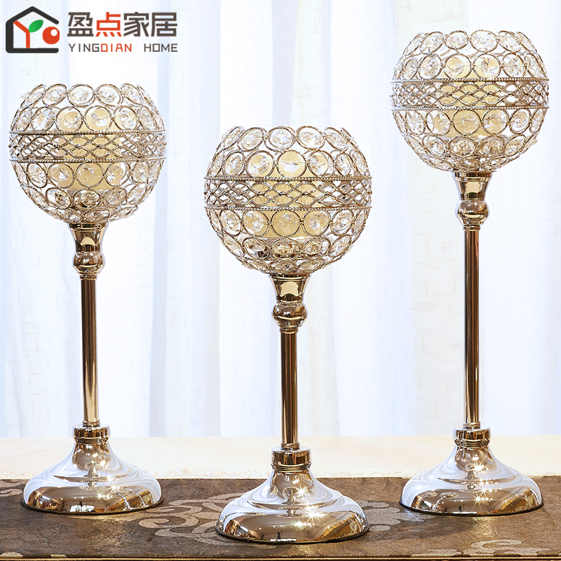 水晶烛台装饰创意欧式奢华烛光晚餐道具蜡烛台浪漫样板房餐桌摆件