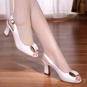 休闲鞋 中跟真皮女鞋 晶客2016夏季新款 女粗跟高跟鱼嘴鞋 凉鞋 百丽