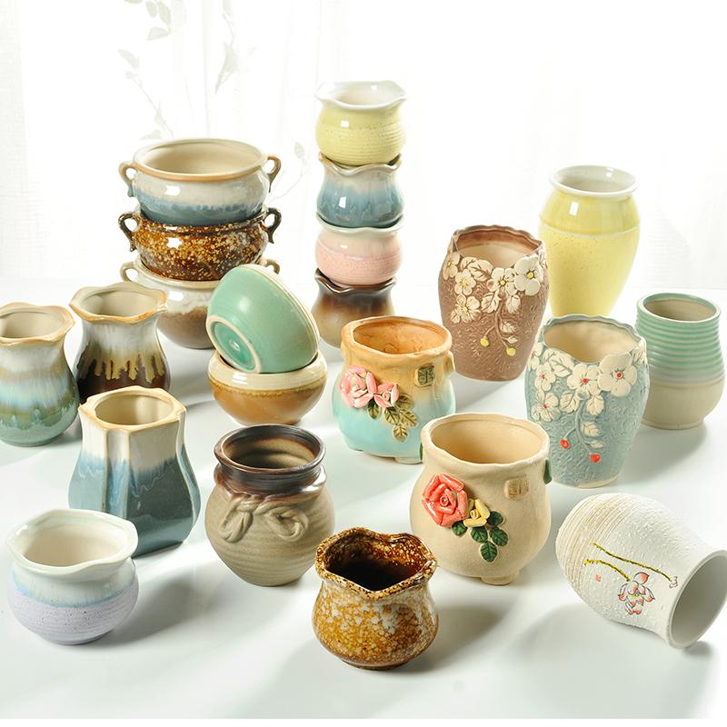 多肉植物花盆粗陶陶瓷简约个性创意老桩花盆大小透气绿植花器