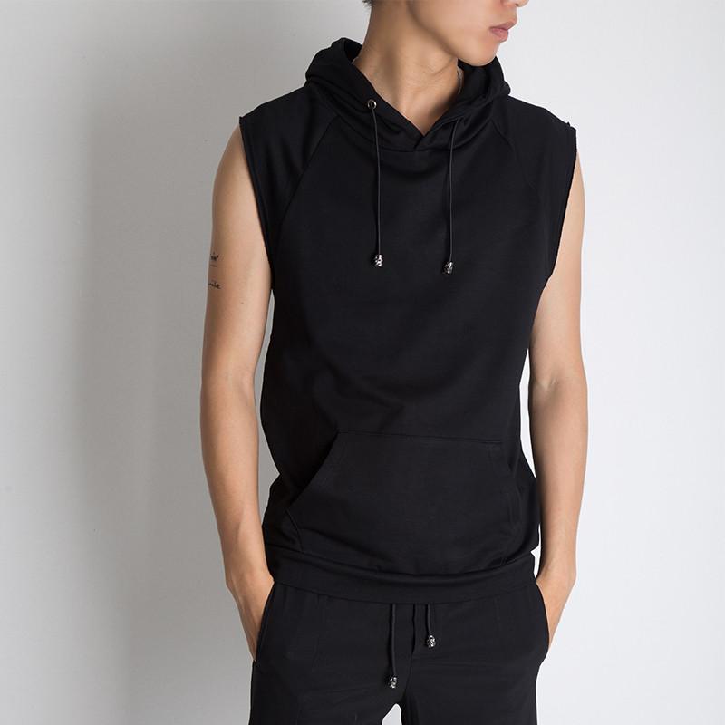 运动 连帽衫男砍袖卫衣背心夏季健身短袖修身兜帽无袖男士恤韩版