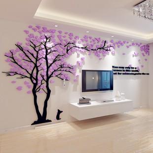 创意树3d立体亚克力墙贴画客厅沙发电视背景墙壁室内房间温馨装饰