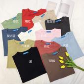 夏季新款简约百搭纯色打底衫宽松显瘦短袖T恤圆领上衣女学生体恤
