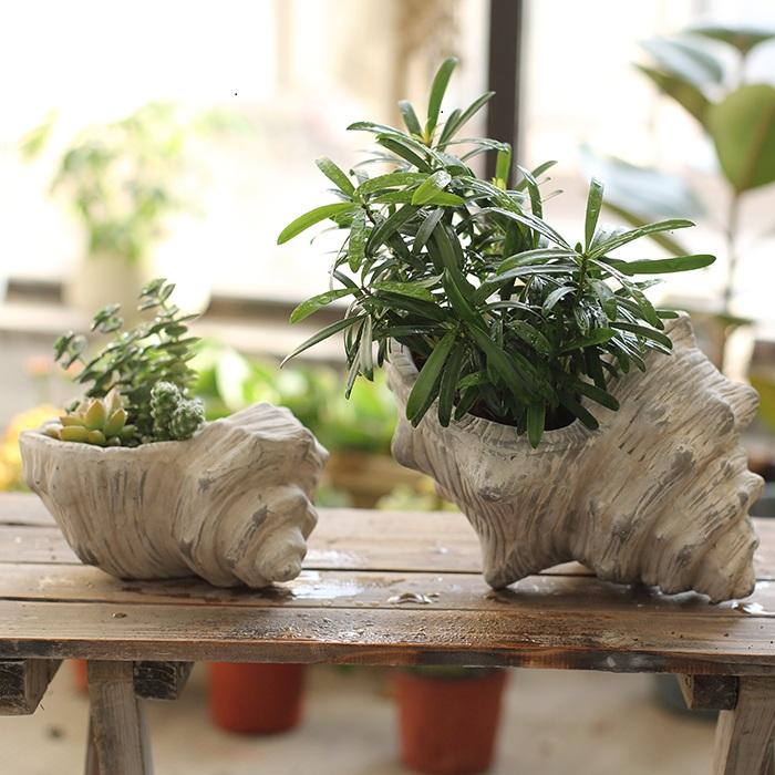 【掬涵】海螺花盆 花器 陶艺 水培土培 仿古做旧摆件装饰园艺庭院