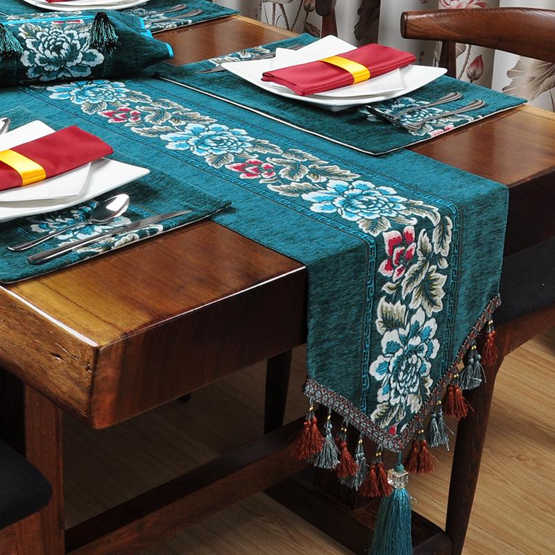 欧式美式现代新中式桌旗古典餐桌桌布餐垫红木茶几床旗中国风定制