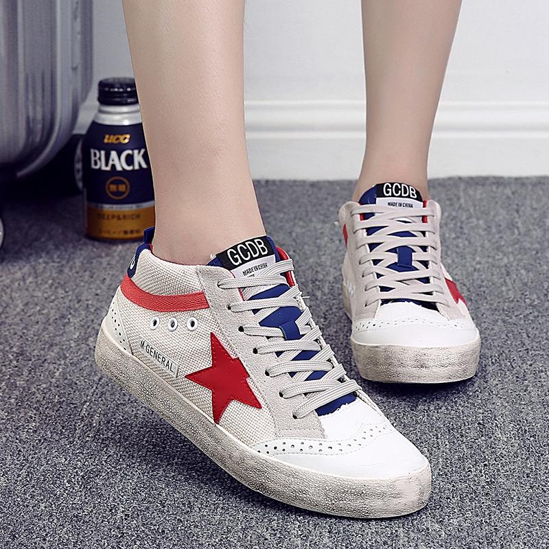 秋季韩版做旧星星鞋刘诗诗同款系带小白鞋休闲运动帆布鞋女小脏鞋