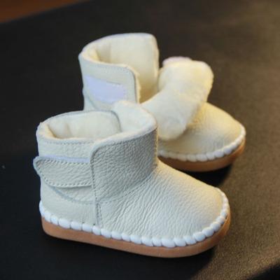 0-1-2岁婴儿保暖棉鞋真皮男女宝宝雪地靴幼儿童软底棉靴子冬新品