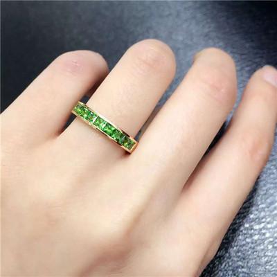 18k玫瑰金沙弗莱戒指 沙弗莱方形排戒 绿色石榴石戒指