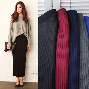 2016秋冬季女装韩版新款加厚棉针织包臀一步半身裙长裙女黑色裹裙