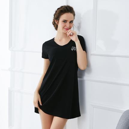 睡裙女纯棉短袖夏季中长款带胸垫罩杯连衣裙宽松休闲免文胸家居服