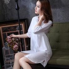 睡裙性感棉绸睡衣薄款 纯棉家居服女 白衬衣短袖 女宽松衬衫 夏季韩版
