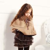 厚公主坎肩罩衣 宝宝披风斗篷毛呢披肩中大童小外套女童春秋冬季款