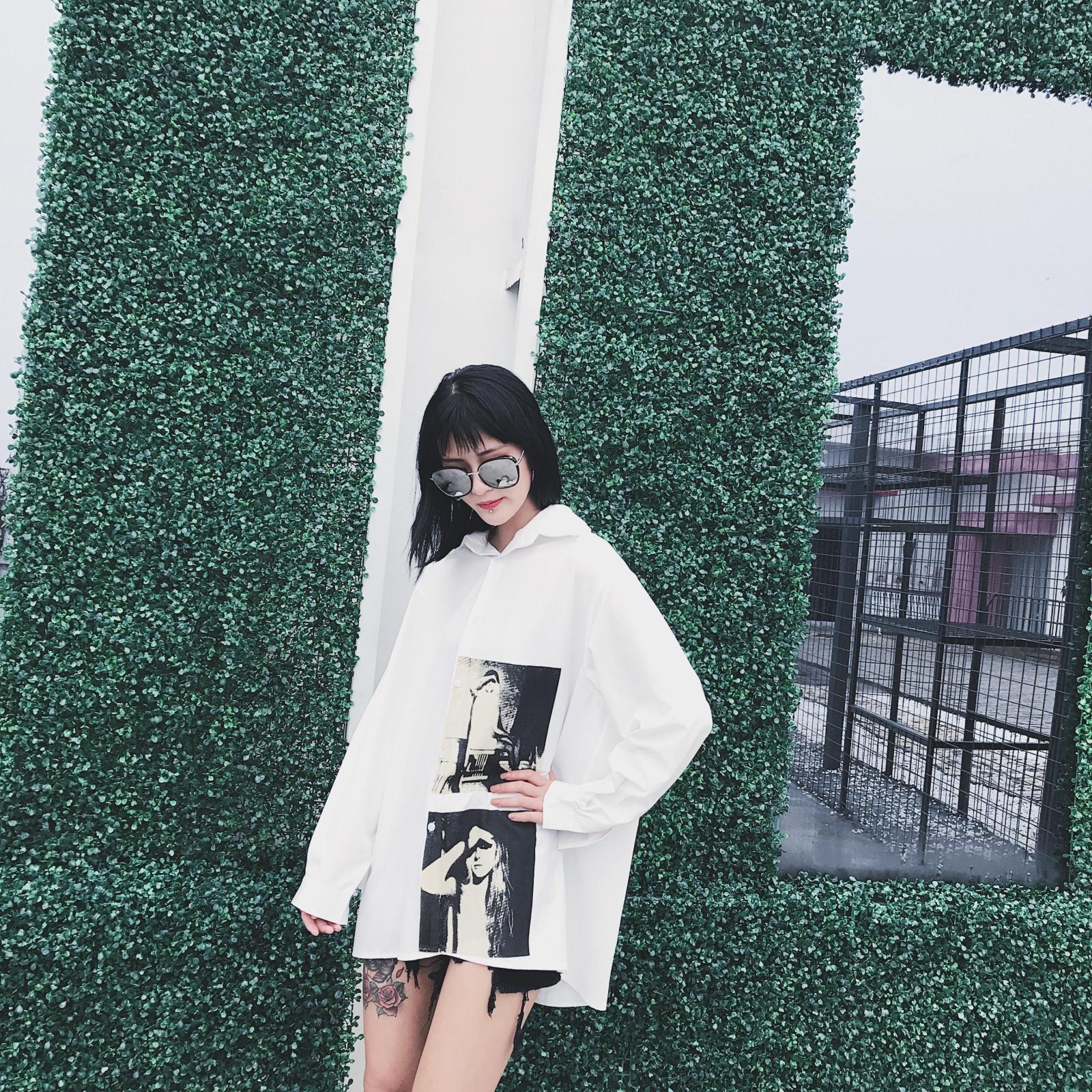颜社少女定制2017春夏新款长袖宽松中长款街头个性印花衬衫女装潮