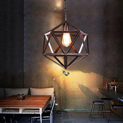 美式乡村复古工业风餐厅吧台咖啡厅灯具创意个性菱形仿古铜吊灯