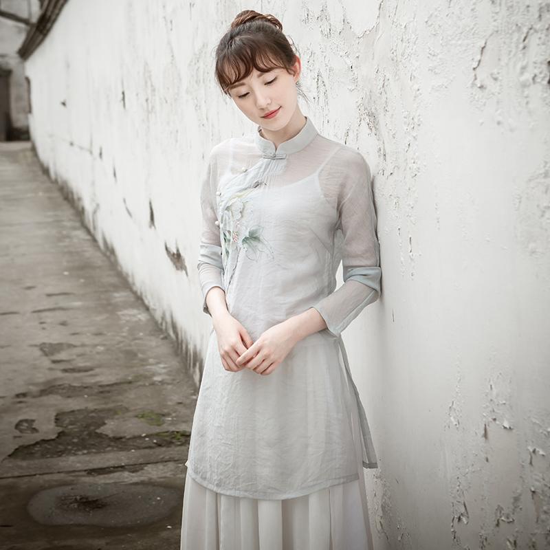 敬茶服女禅服茶人服夏成人禅意手绘上衣送吊带棉麻中国风文艺中式