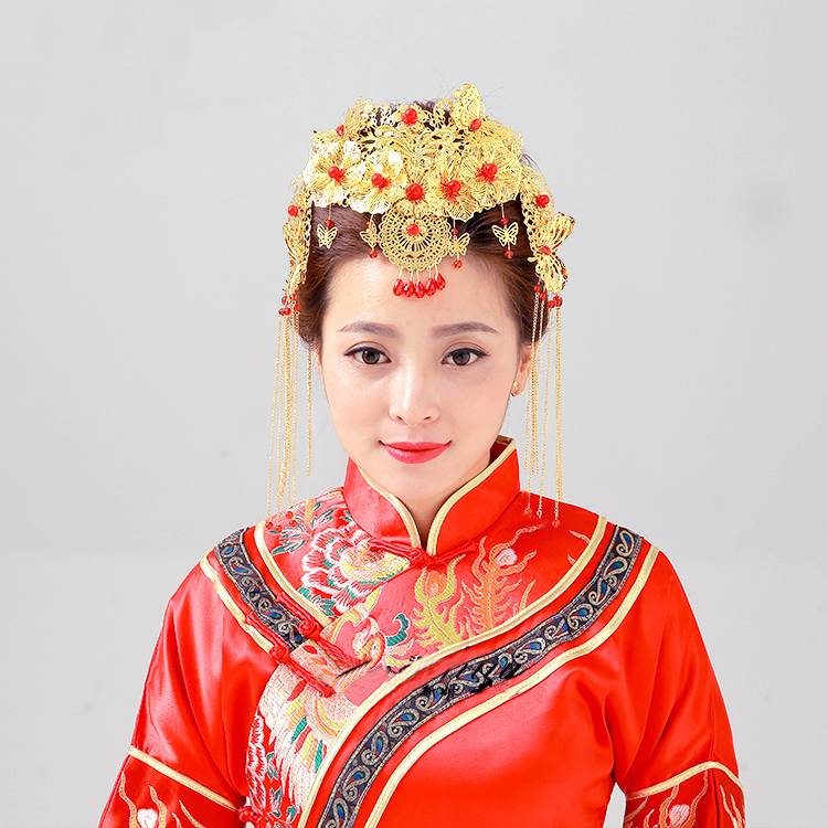 新娘古装头饰凤冠秀禾和服旗袍配饰中式民族流梳饰品结婚发饰套装