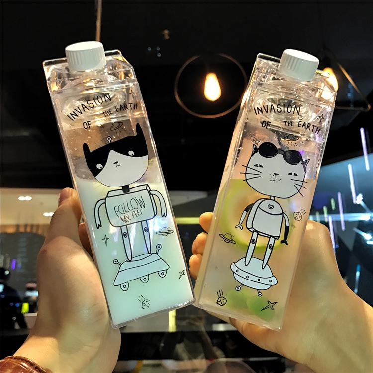 卡通创意et喵星人牛奶盒子塑料水瓶男女士学生水杯大容量运动水壶图片