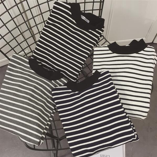 2017秋装新款黑白条纹高领打底衫长袖女T恤百搭女士休闲打底秋衣