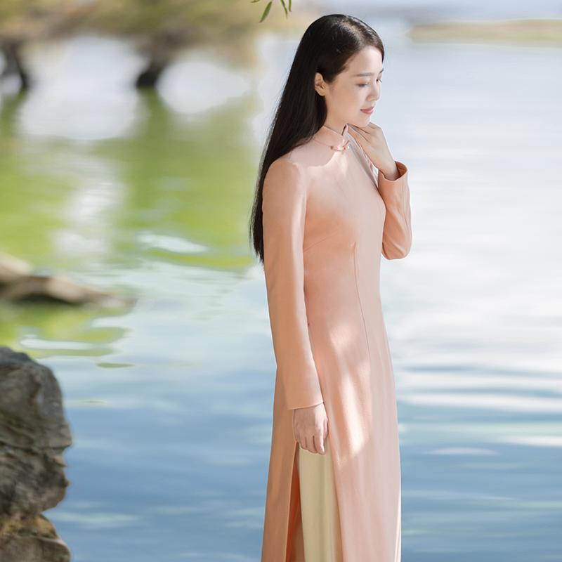 初蝉冬季中国风中式女装唐装上衣加厚修身毛呢改良旗袍奥黛连衣裙