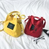 2017日韩版新款潮文艺百搭时尚手提单肩斜挎包女士包帆布水桶小包